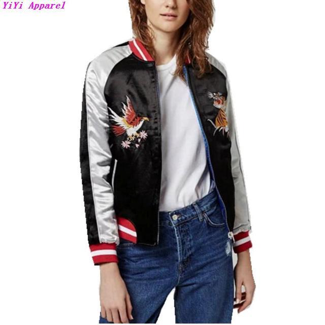 Harajuku реверсивный пальто вышивка тигр орел куртка 2016 женщин противопоставить ...