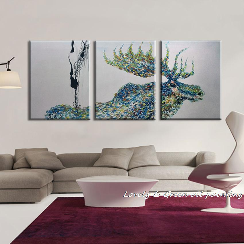 100 handpainted 3 panel modern decorative painting moose for Wall art paintings for living room