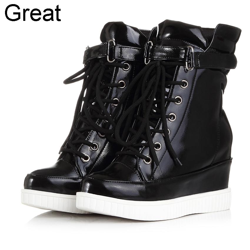 2014 Black Silver Lace Buckle Height Increasing Waterproof Casual Leisure Womens Girls Female Sneakers Shoes D830