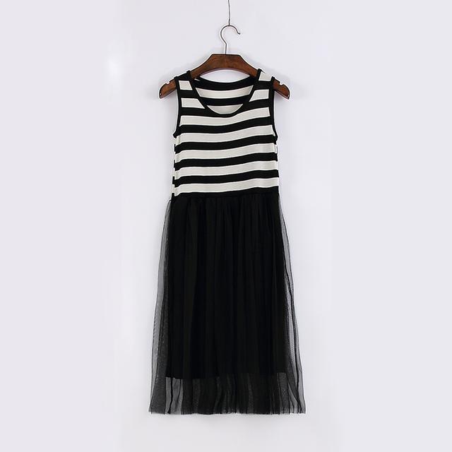 Женщины летнее платье новый 2016 мода без рукавов свободного покроя пляж платье Vestido старинные женщина принцесса черный белый туту платье украина