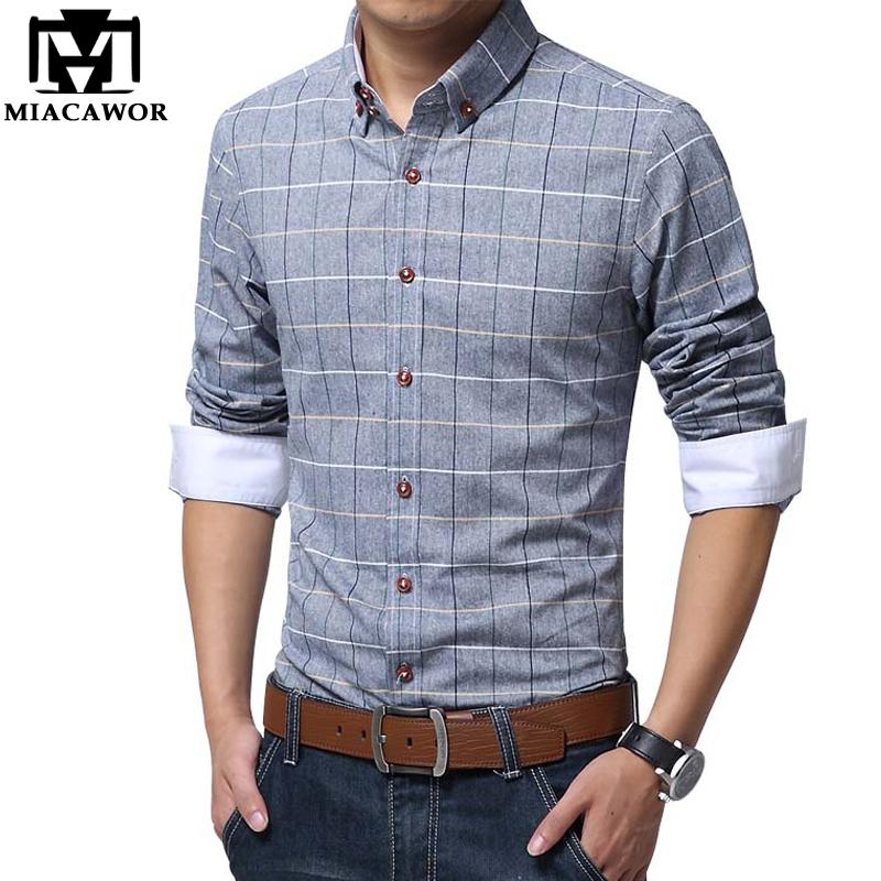 Plus Size Shirts New 2016 Spring Casual Men Shirt Cotton Linen Mens Dress Shirt Slim Fit Plaid Shirt Long sleeve Camisas MC127(China (Mainland))