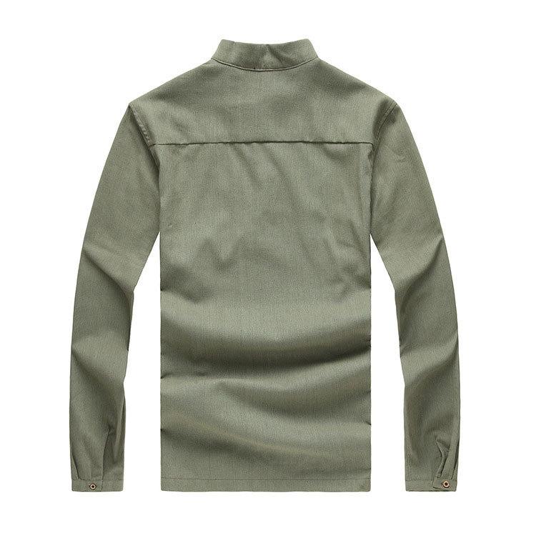 Asian fashion mens pullover shirt longsleeve linen shirts collarless shirt men camisas manga comprida AY197