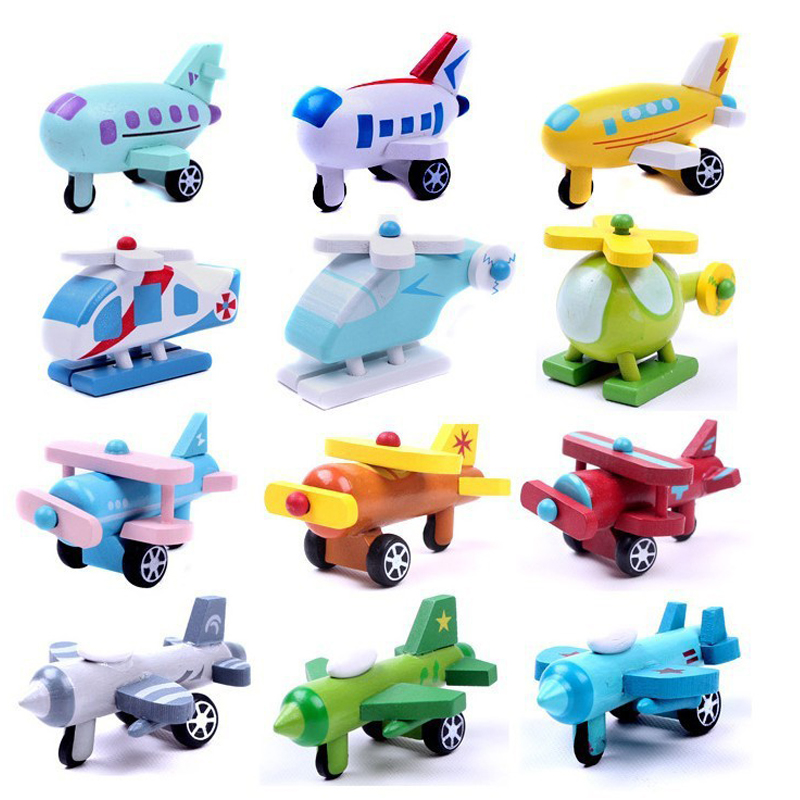 2pcs/lot New wooden mini airplane models kit wood plane baby learning & education toys gifts for children Kids hot free shipping