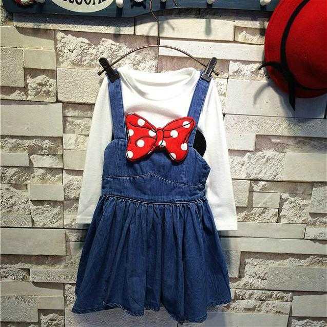 (5 Size/Lot) New 2014 Childrens Kids Girls Autumn Fashion Leisure Cowboys Big Bow Strap Dress