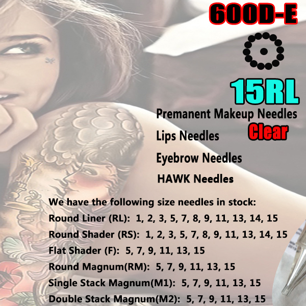 2016 NEW 600D-E 15RL Permanent Makeup Tattoo Rotary Machine Needles for Machine Swiss Motor Pen Gun Free Shipping