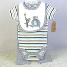 100% cotton clothing set for baby boys newborn infant cartoon bibs & striped bodysuits short sleeve & gray pants 3 pieces set