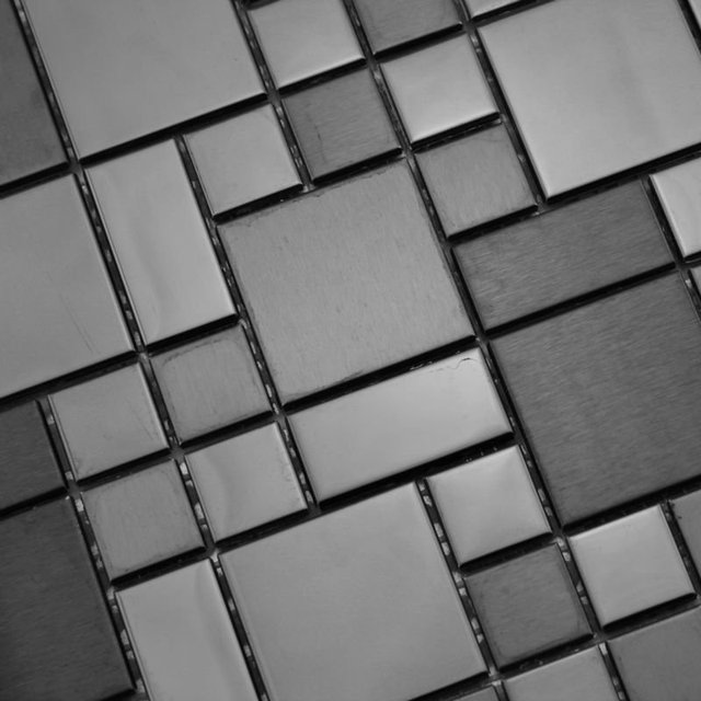 stainless steel tile backsplash silver metallic mosaics kitchen back splash tiles SZH101HX cheap metal bathroom 3d floor mirror