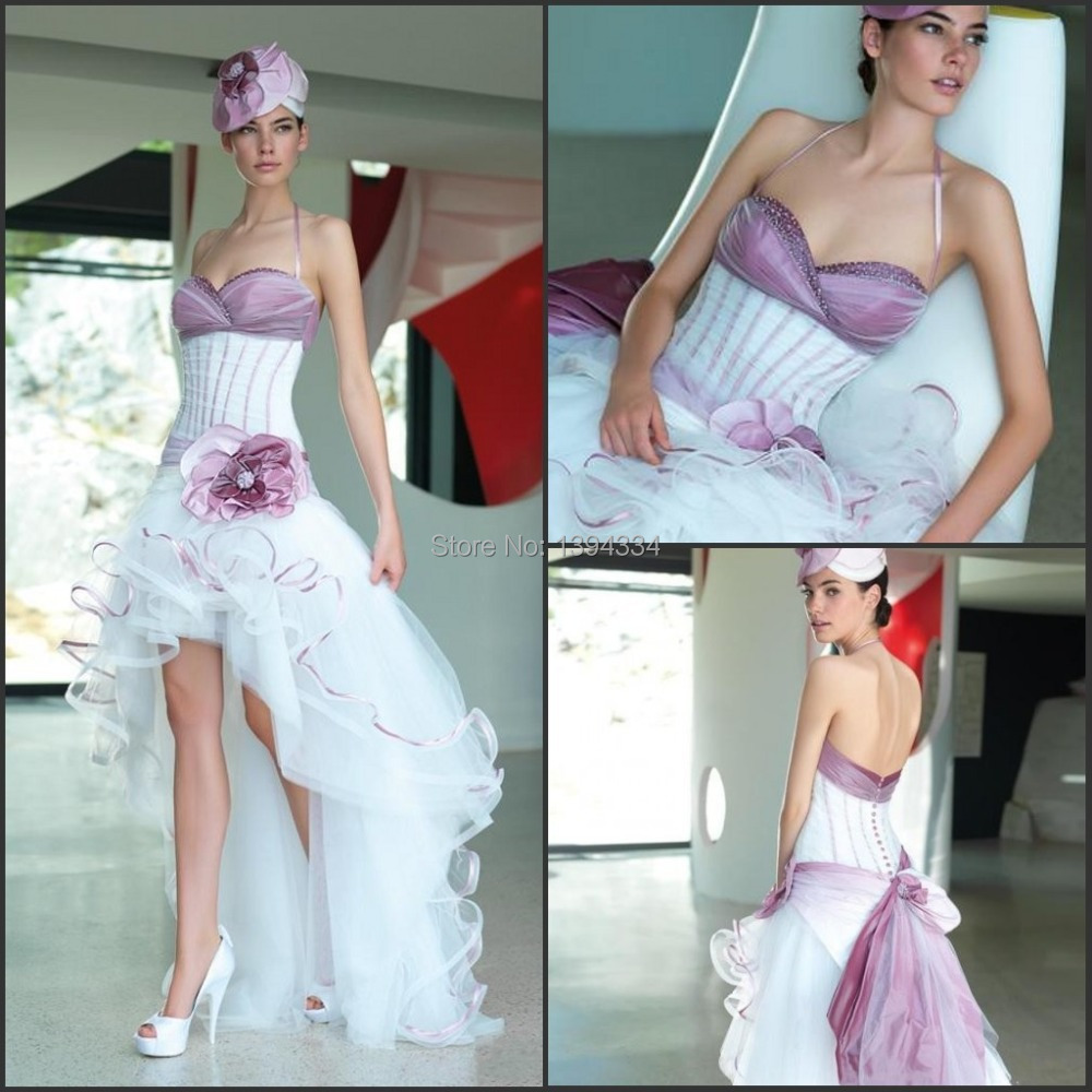 2015 Slim Sexy Halter Taffeta and Tulle Short Front Long Back Corset High Low Purple and White Bridal Wedding Gowns Dresses(China (Mainland))