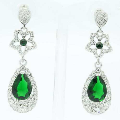 New 2014 Silver Tone Wedding Earring Green Zircon Flower Water Drop Dangle Earring w/ Rhinestone Crystal Earring For Women 20602(China (Mainland))