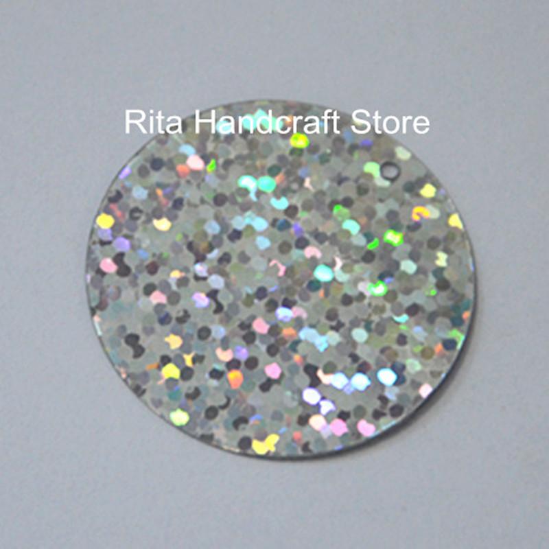 50pcs 50mm large round loose hologram sequin paillette for Paillette decoration