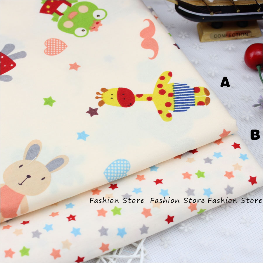 50*40cm/piece Giraffe Elephant Animal Printed Cotton Fabric for Baby Bedding Textile Room Decoration DIY Sewing Patchwork Fabric(China (Mainland))