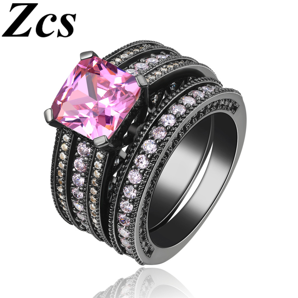 Zcs Female Ring Black Gold Plated Delicate Pink Simulation Diamond Luxury Wed