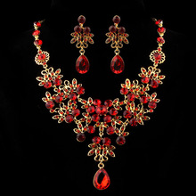 Modern Charm Prom Wedding Bridal Jewelry Crystal Rhinestone Necklace Earring Set for Evening Part,free shipping Mar10(China (Mainland))