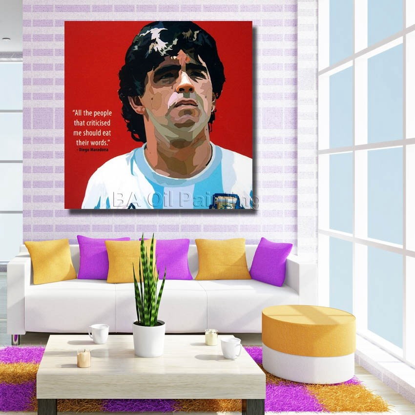 Oil Painting On Canvas Football Star Diego Maradona ,Framed Hand Painted Modern Frames Of Living Room Wall Abstract Art Pictures(China (Mainland))