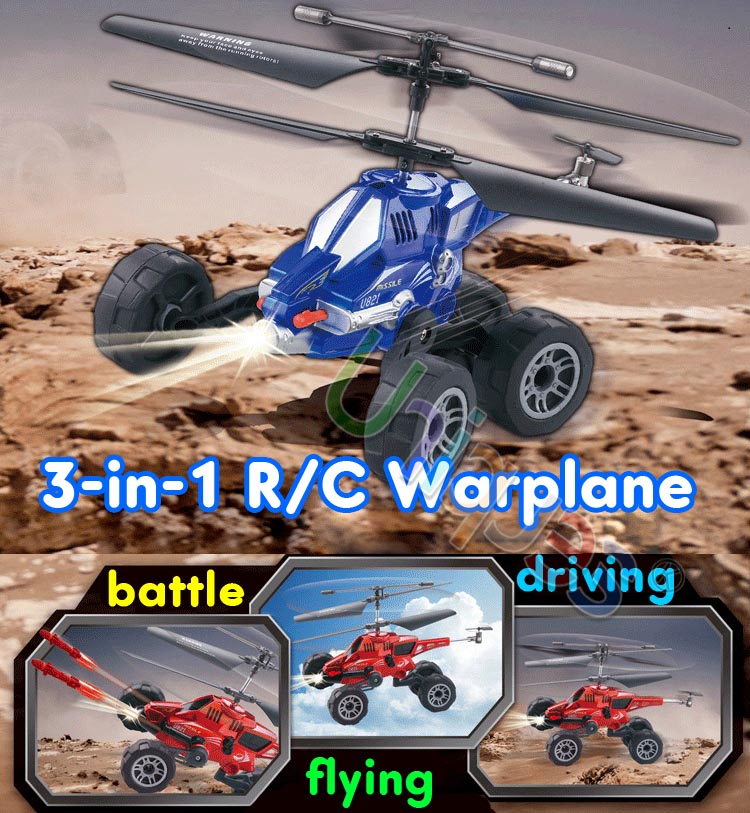 RC Radio Remote Control Toys Car Flying Truck & Helicopter Chariot 3.5CH Warplane with Gyro Missile Bullet UDI U821 3-in-1(China (Mainland))