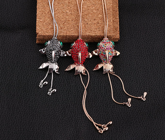 Bright Colorful Crystals Paved Fish Charm Body Chain Long Gold Tone Chain Candy Color Crystals For Women Jewelry Choker FJ0143(China (Mainland))