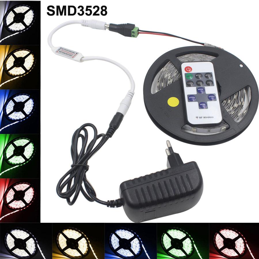 5m 2835 LED Strip led stripe Light 12V 60LEDs/M3528 lighting for RF Dimmer Red/Green/Blue/Yellow/Whitr/Wram white 2A adapter eu(China (Mainland))