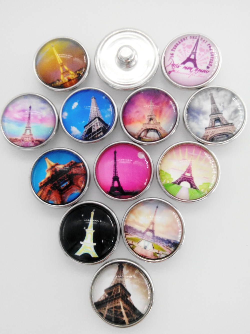 12pcs lot Eiffel Tower18mm glass snap button jewelry luxurious alloy bottom fit ginger snaps necklace watches