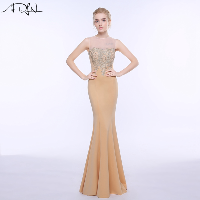 ADLN 2017 Long Mermaid Evening Dress Gold Appliques Floor Length Women Formal Gowns Champagne Party Dresses(China (Mainland))
