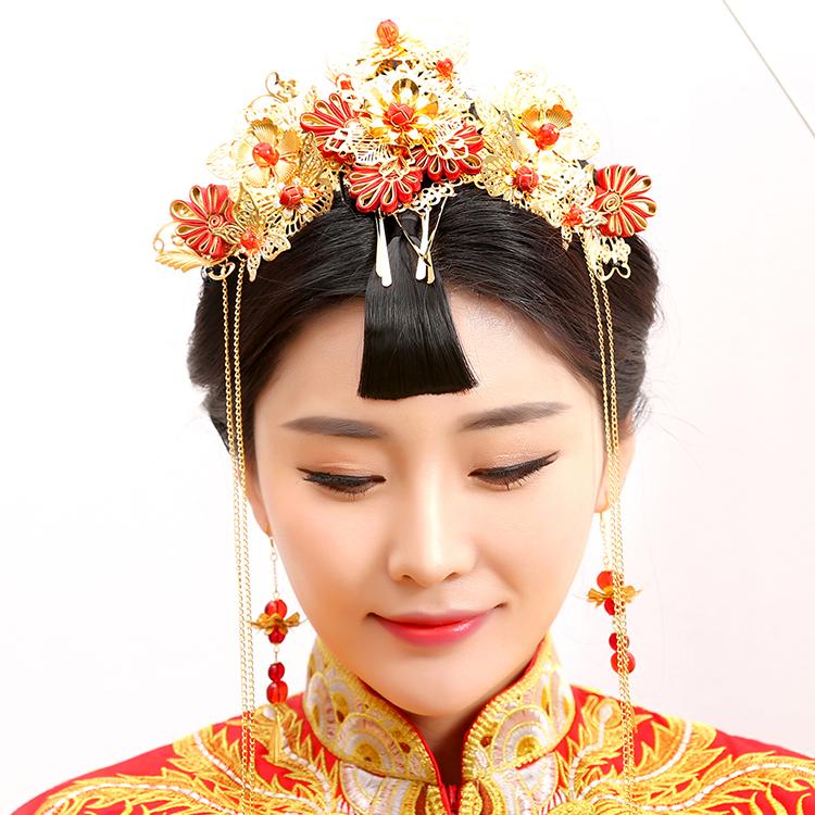 Guan Zhui Traditional Chinese Wedding Bride Hair Tiaras for Xiuhefu Hair font b Accessory b font