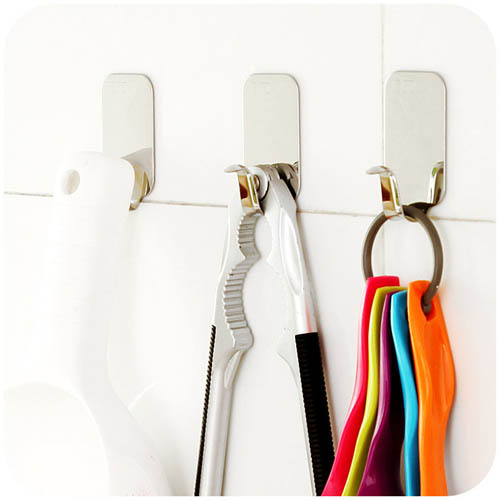 Home Kitchen Wall Door Self Adhesive Stainless Steel Stick Holder Hook Hanger(China (Mainland))