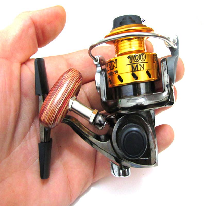 Mn100 small size all metal fishing reel lure ice fishing for Micro fishing reel