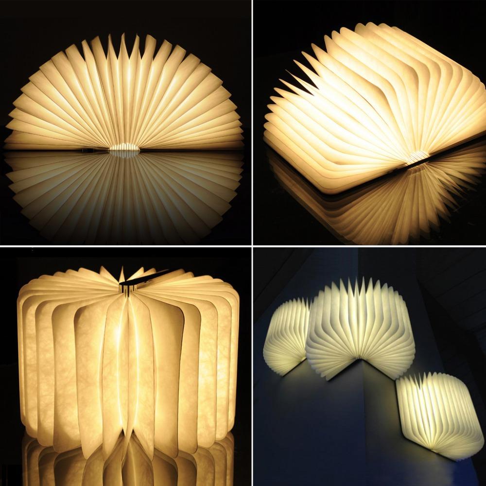 Excelvan 2015 Novelty Wooden Folding LED Night Light Led Lamp Booklight Rechargeable Folding Book Nightlight Luminaria USB Port(China (Mainland))
