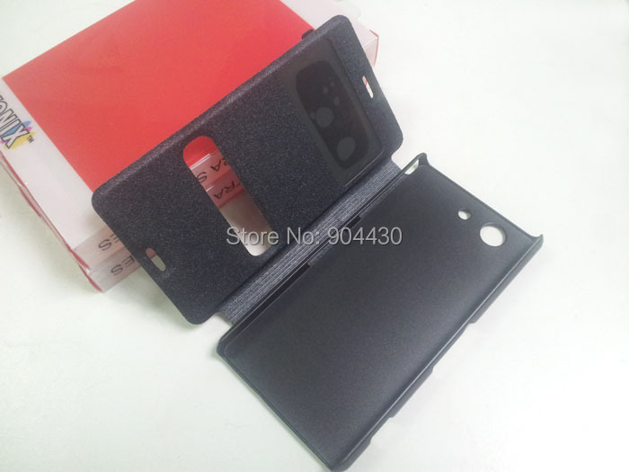 10pcs For Sony Xperia Z3 Compact D5803 Z3mini D5833 flip cover leather case with stand, with window view + 10pcs screen films