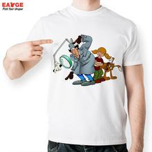 [EATGE] Exclusive Classical Anime Inspector Gadget T Shirt Funny White Printed T-shirt Short Sleeve O-neck Tshirt For Men