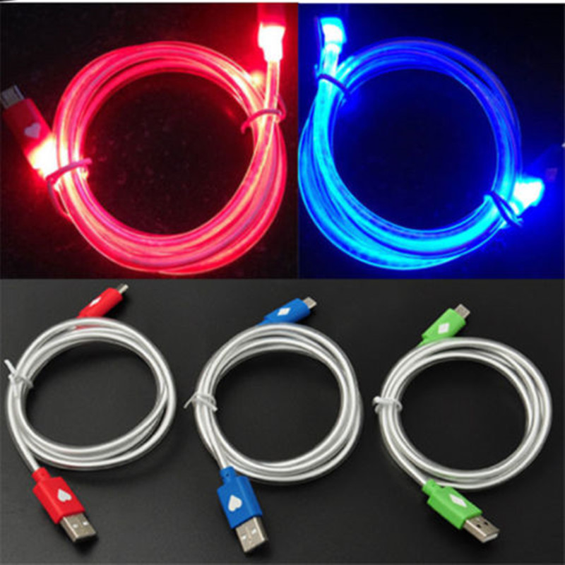 Round tube 1M LED Light Micro USB Cable Luminous Micro USB Data Sync Cord For android Xiaomi huawei samsung Charging cables Wire(China (Mainland))