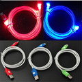 Round tube 1M LED Light Micro USB Cable Luminous Micro USB Data Sync Cord For android
