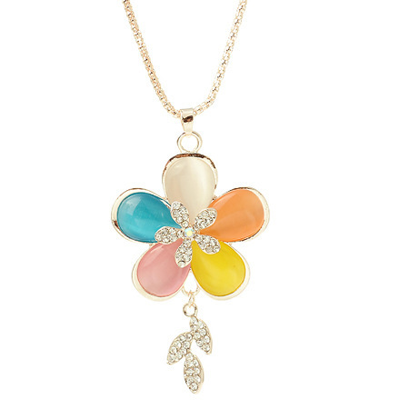 CL157 multicolored Opal five leaves and flowers necklace fashion necklace Korean manufacturers wholesale hundred Yuan spot mixed(China (Mainland))