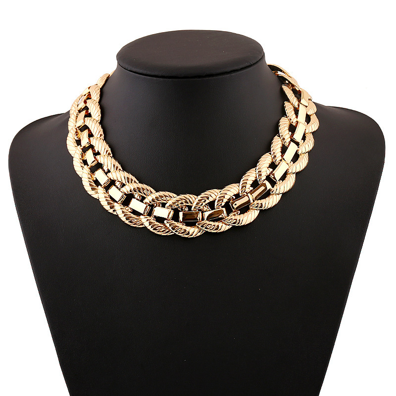 Exaggerated Metallic Big Chunky Necklace New Women Clavicle Chain Necklace Collar Collier Gold Silver plated Punk Maxi Necklace(China (Mainland))