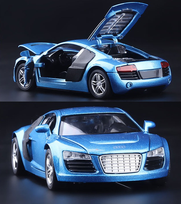 1:32 kids toys AUDI R8 metal toy cars model for children music pull back car miniatures gifts for boys(China (Mainland))