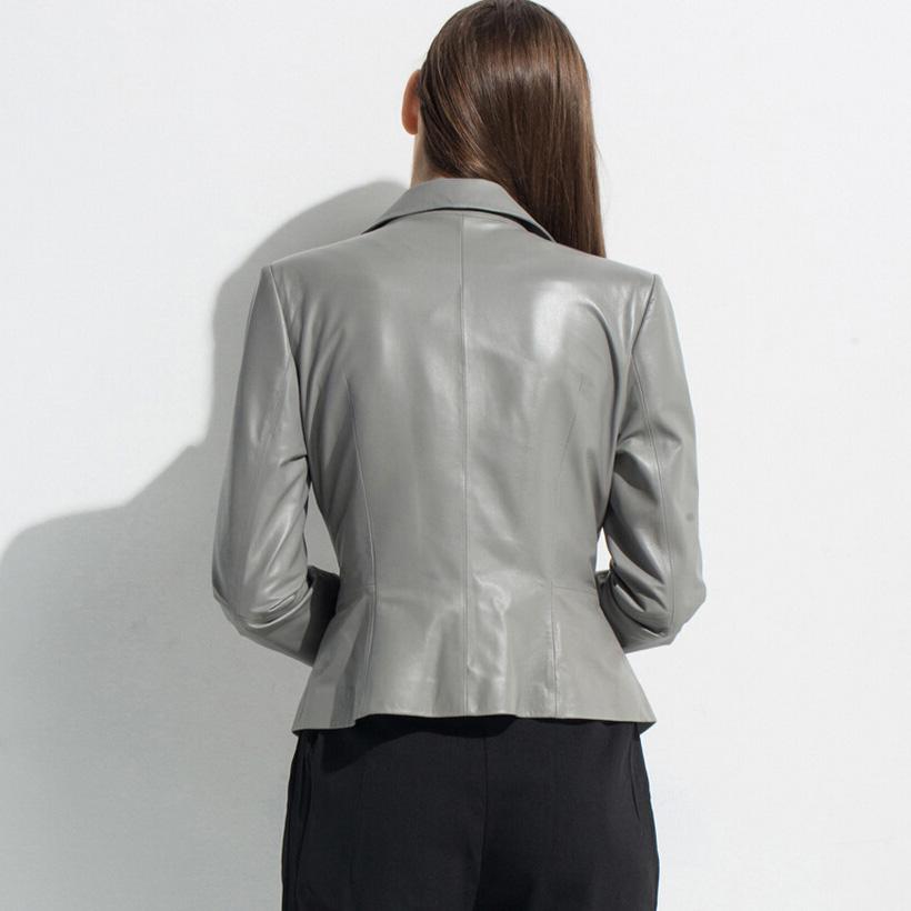 Brand genuine leather jacket woman Luxury sheepskin short Leather Suit designer Black Blue Gray Orange free