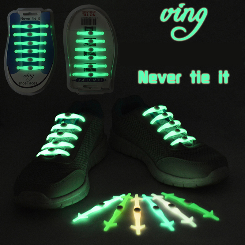 12pcs/set No Tie Shoelaces Luminous LED Shoe Laces Disco Party Night Running Flash Light Up Glow Stick Strap Shoelaces(China (Mainland))