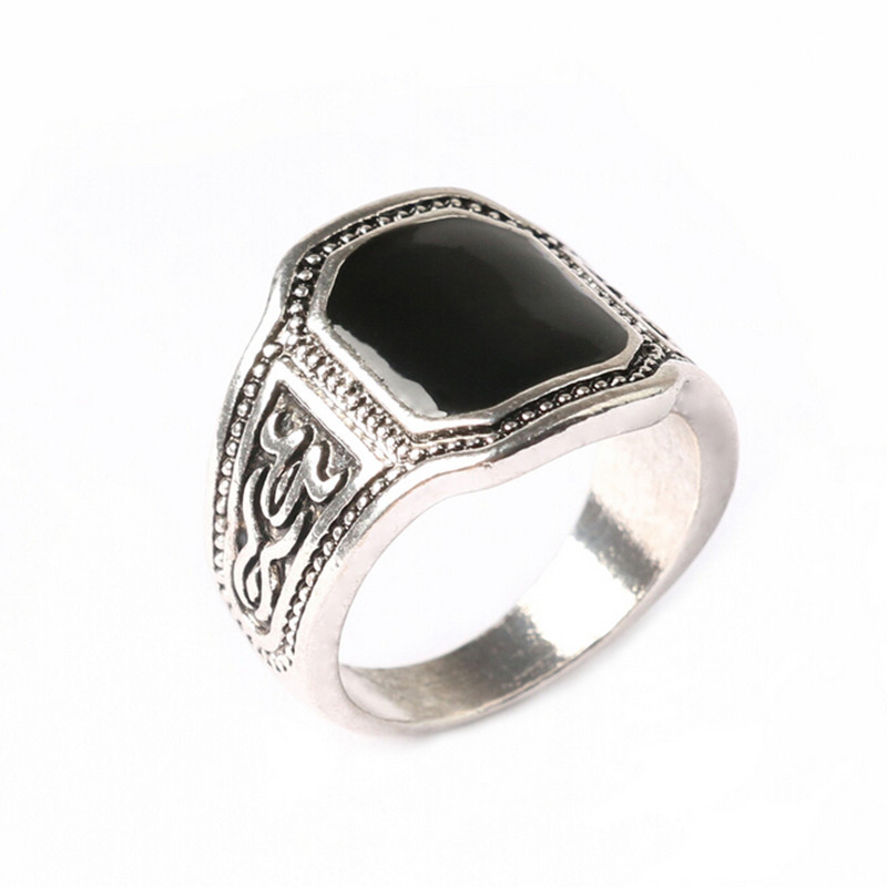 Size 7-11 New Classic Men Rings 925 Sterling Silver Ring Vintage Jewelry Big Black Enamal Punk Rock Simple Ring Wholesale(China (Mainland))