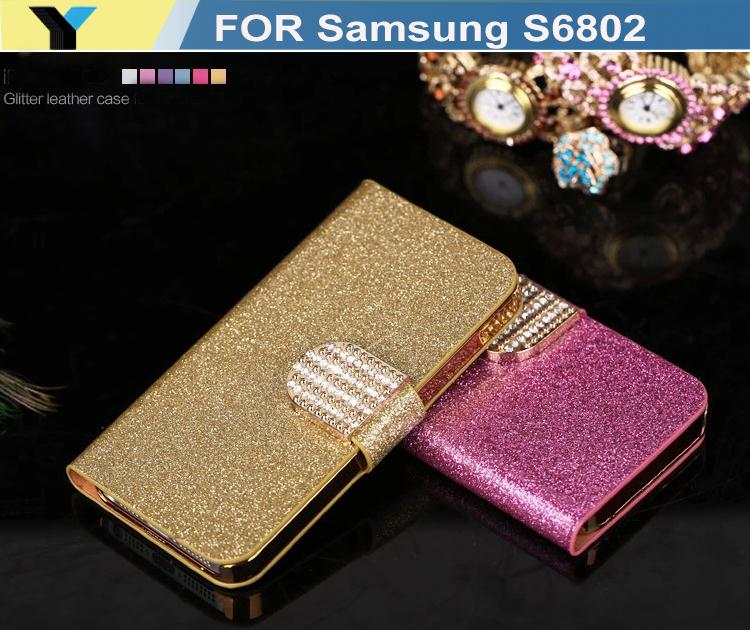 Luxury bling case For S6802 Samsung Galaxy Ace Duos Mobile Phone Case Lady Wallet case with Rhinestone fold flip cover housing(China (Mainland))