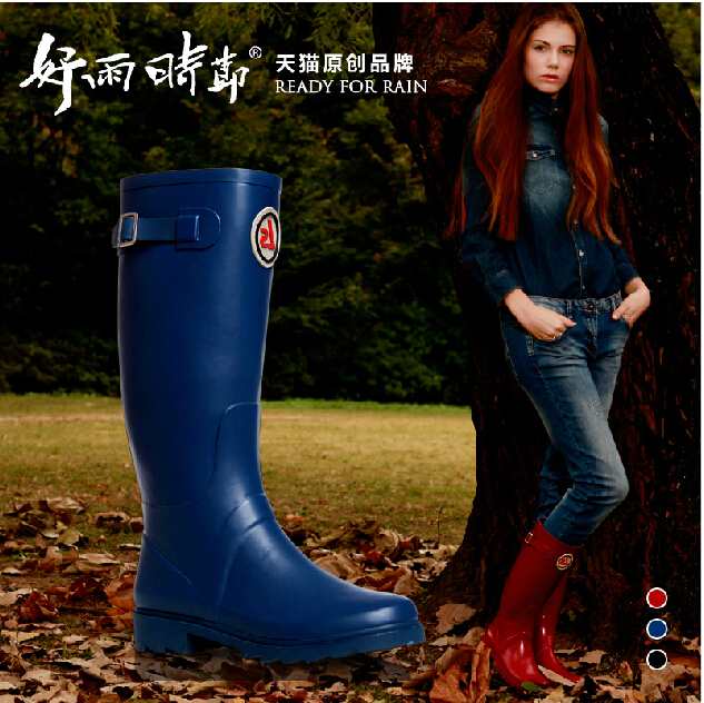 2015 New Original Tall Rain boots,Women's Fashion Waterproof Rain Boots,High Style Rain Shoes With Original Bags,Free Shipping!(China (Mainland))