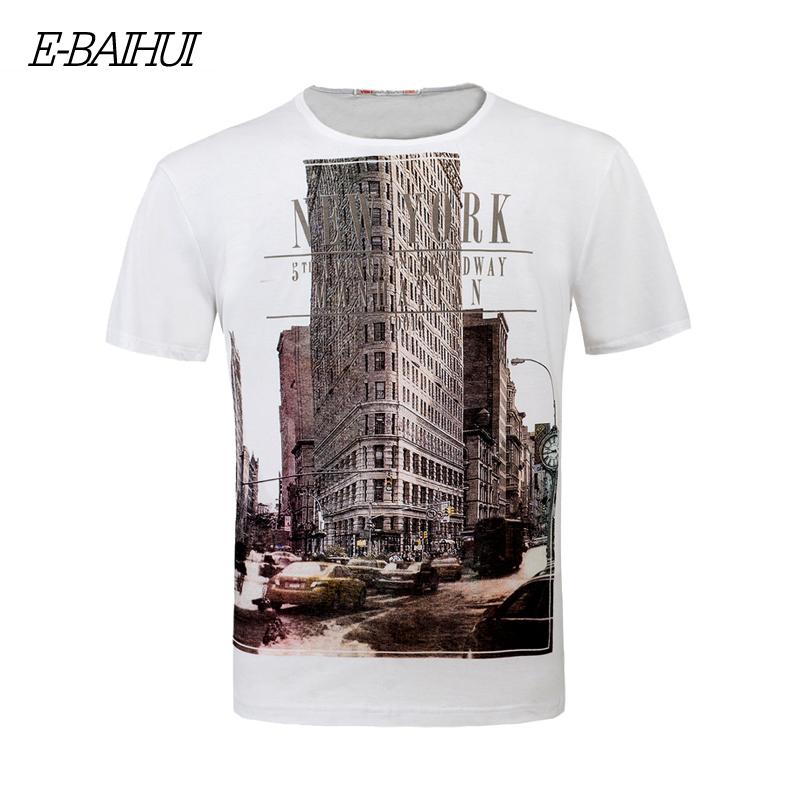 E-BAIHUI 2016 Spring summer Fashion Hip Hop Men T-shirt New York printed Fitness Skate tee shirt men brand Swag Clothing Y050(China (Mainland))