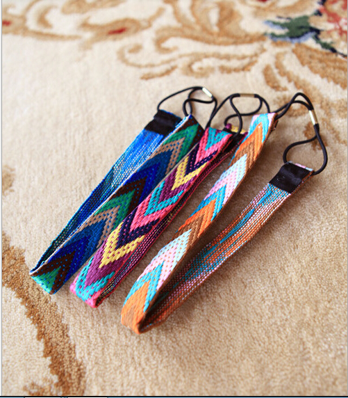 vintage ethnic tribal candy bright colored braid headband color blocking rhombus hairband hair accessories(China (Mainland))