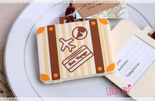"""plane card """"Let the Journey Begin"""" Vintage Suitcase Luggage Tag wedding bridal shower Favor party gifts(China (Mainland))"""