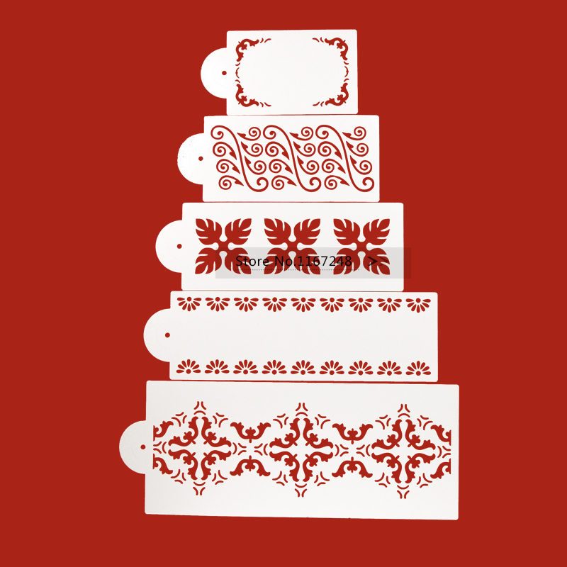 5pcs/Lot Newest Lace Cake Stencil Fondant Cake Decorating Tools Cake Design Stencil Kitchen Accessories Wedding Cake Decorations(China (Mainland))