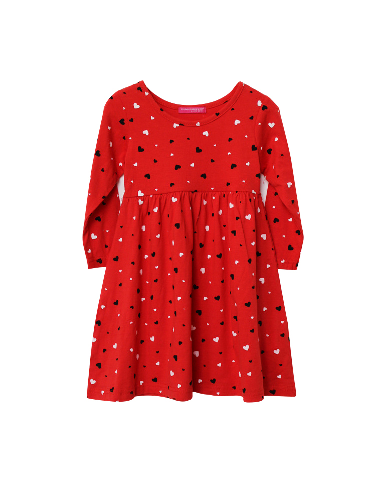 2015 Fishon 100% Cotton Baby Girls Dress Long-Sleeve Red Heart-Shape Winter Dresses For Kids Children Clothes(China (Mainland))