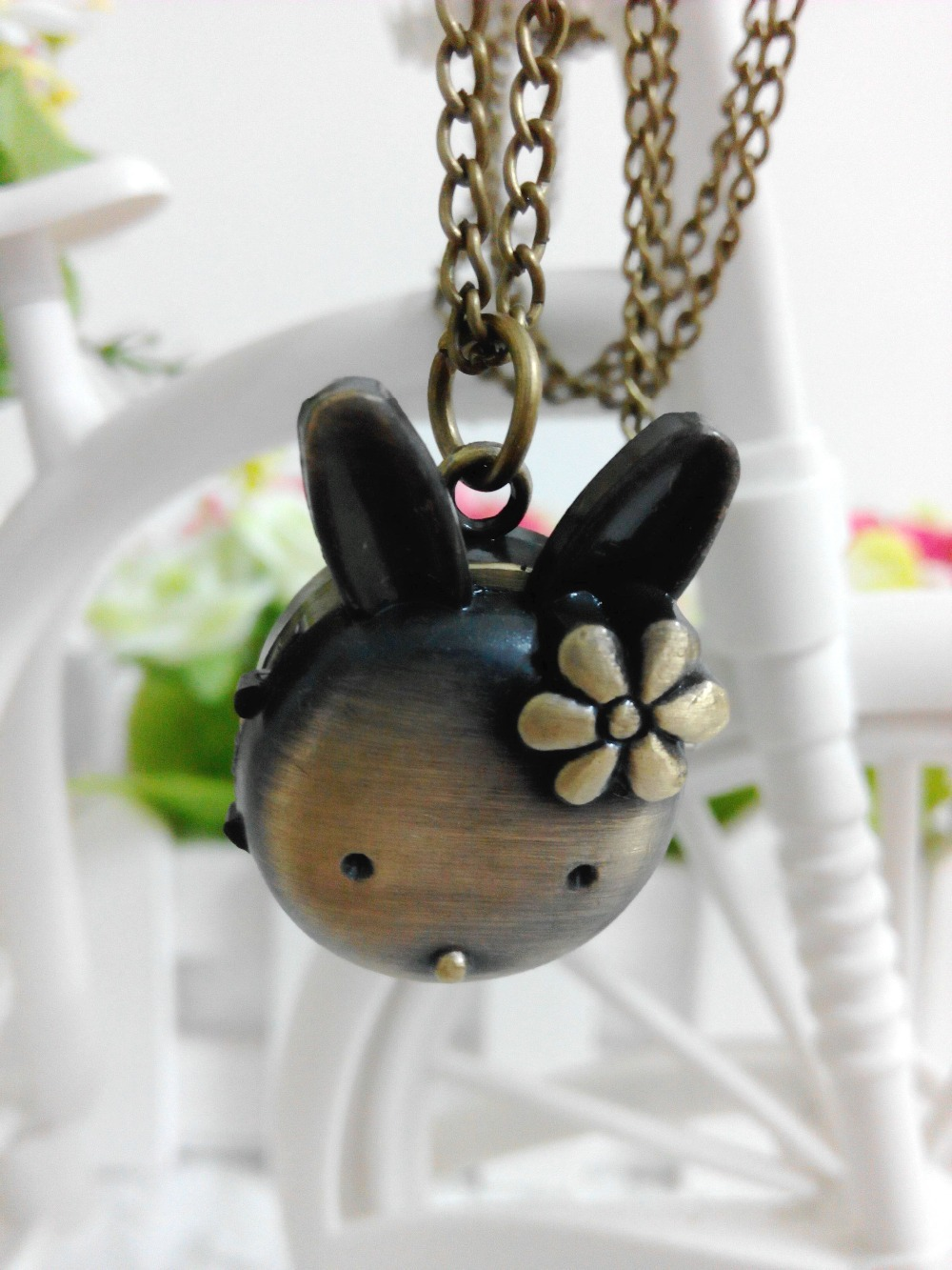 wholesale cartoon rabbit pocket watch necklace,pendant watch necklace,vintage watch necklace,watch necklace ball(China (Mainland))