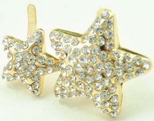 1 pair rhinestone double star shoes clip metal crystal shoe decoration clips for women buckles N567(China (Mainland))