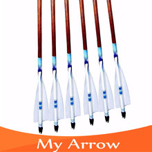 Hot Sale 6pcs Wooden Arrows Handmade Turkey Feather Broadhead Traditional Wood Arrows For Compound Recurve Bow