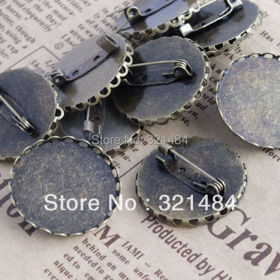 Wholesale Bulk Price!!! 500pcs Antique bronze brass metal 30mm Lace Safety pin Brooch Blanks Cabochon setting base<br><br>Aliexpress