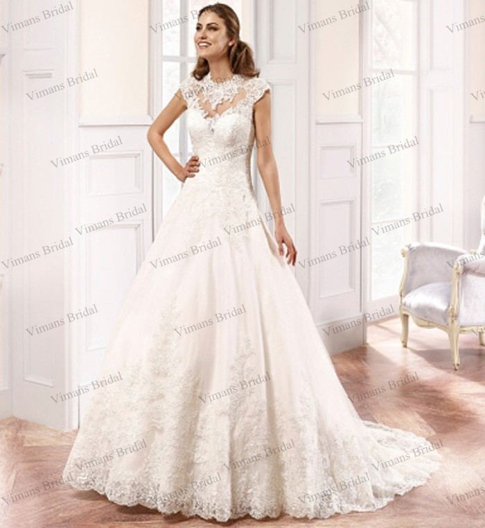 gown high neck sleeveless appliqued sweep train gypsy wedding dress