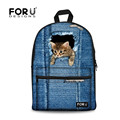 FORUDESIGNS 2016 Fashion Women Canvas Backpacks Vintage Denim Cute Cat Printing Backpack Kid Jeans School Bags